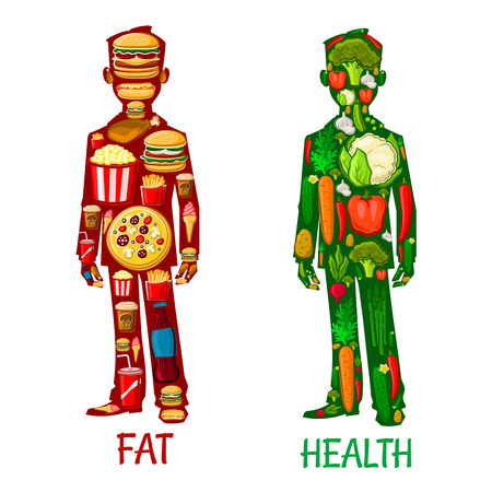 unhealthy diet: Fat and Health. Human nutrition icons. Healthy vegetarian and unhealthy fast food eating with elements of vegetables, cauliflower, pepper, carrot, radish, potato, cucumber, hamburger, sandwich, french fries, soda, pizza, ice cream pop corn