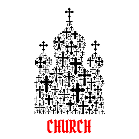 Church Icon Religion Christianity Cross Symbols In Shape Of