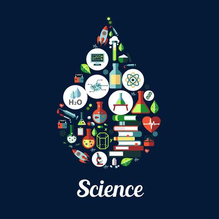 icono de la ciencia en forma de gota. Iconos de vector de la genética y la bioquímica, objetos átomo, ADN, químicos, microscopios, cohetes, sustancias, genes, moléculas libros imán de protones Ilustración de vector