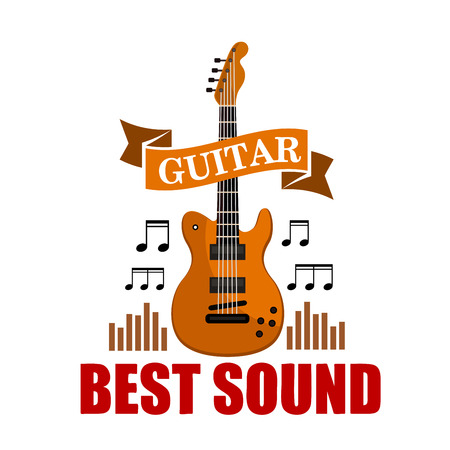 instrumental: Guitar. Best sound musical emblem with vector icon of classic guitar, music notes and sound graphic equalizer Illustration