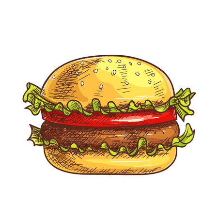 eatery: Hamburger fast food sketch icon. Vector burger, cheeseburger element for restaurant, eatery menu, signboard