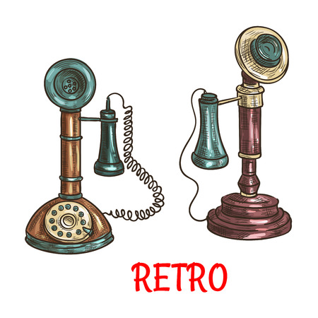 Old vintage retro phones with receivers, dials, wires. Vector color sketch antique telephones