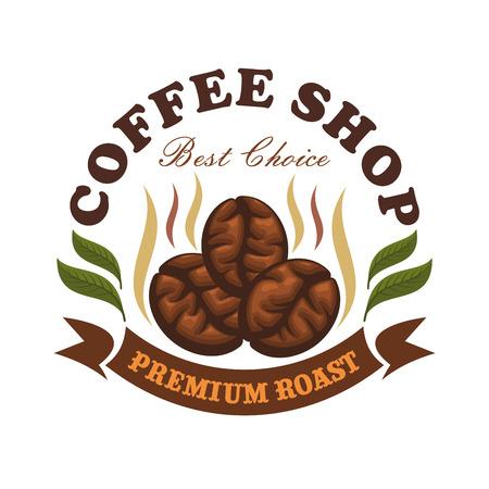 chicchi di caff?: caffè caffè emblema. Chicchi di caffè arrostiti con foglie e nastro marrone. Modello di vettore per il menu caffetteria, bar cartello