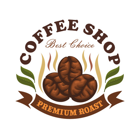 coffee beans: Coffee shop cafe emblem. Roasted coffee beans with leaves and brown ribbon. Vector template for cafeteria menu, cafe signboard