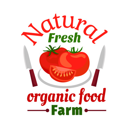 food shop: Tomato vegetable organic farm food emblem. Isolated tomatoes with leaves on plate, knives. Sign for vegetarian restaurant, cafe menu, grocery shop, farm store signboard Illustration
