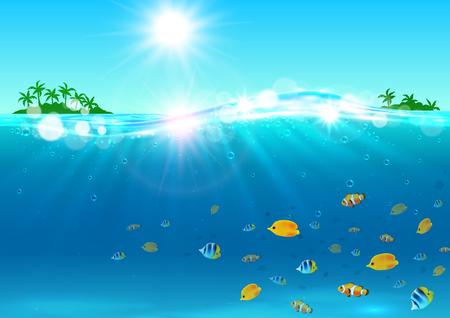 banner de vacaciones de verano. Océano con la isla tropical de palma, el sol brillante, las ondas de agua, peces de colores brillantes. Antecedentes de la agencia de viajes anuncio, tarjeta de felicitación, hoteles, centros vacacionales cartel Ilustración de vector