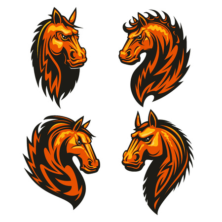 furious: Horse head in fire shape with thorny prickly mane. Stylized heraldic emblems of furious flaming stallion for sport club, team badge, label, tattoo Illustration