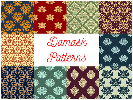 luxurious: Damask ornamental decoration seamless patterns. Luxurious royal baroque ornaments and imperial decorative floral pattern tiles
