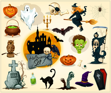 Halloween icons and symbols for banners greeting cards design halloween icons and symbols for banners greeting cards design vector elements of pumpkin candle m4hsunfo