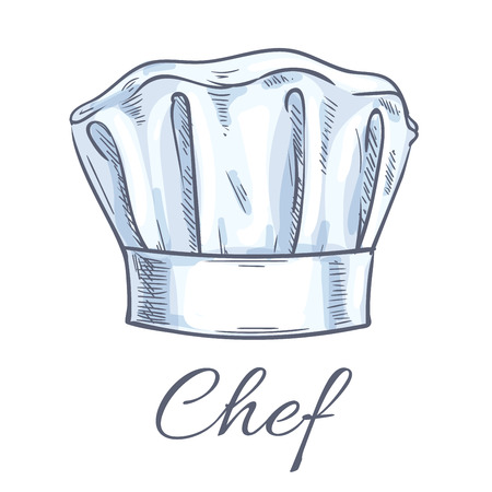cook cap: Chef toque vector sketch icon. Cook cap, kitchen cooking hat emblem for restaurant design element, bakery signboard