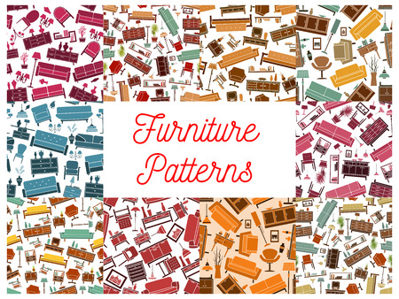 flower room: Furniture room interior elements seamless pattern. Vector pattern of retro and classic home accessories sofa, chair, armchair, lamp, wardrobe, picture, bookshelf, vase, locker, flower lamp Illustration