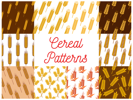 rye: Cereal seamless patterns. Vector pattern of wheat, barley, rye ears, grain plants for bread product packaging, bakery decoration element