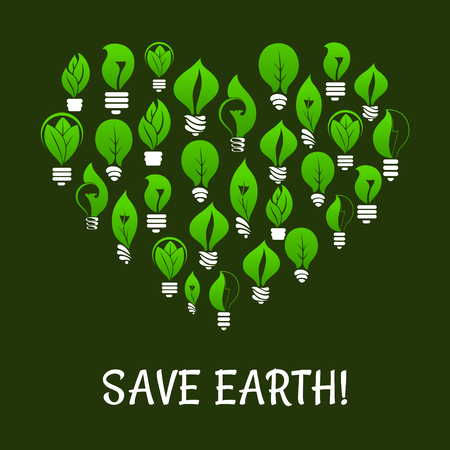 energy symbol: Save Earth. Energy saving placard. Green energy symbol in heart shape with vector elements of green leaf and lamp bulbs. Environmental nature protection and smart electricity concept Illustration