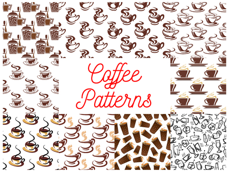 coffee mill: Coffee seamless pattern backgrounds. Vector patterns of coffee cup, coffee maker, vintage coffee mill, retro coffee grinder, coffee beans, cocktail glasses