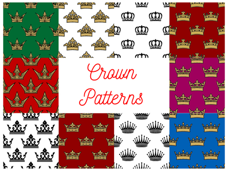 regal: Crowns seamless patterns. Vector pattern of golden, royal, heraldic, imperial, vintage, retro monarch regal crown symbols
