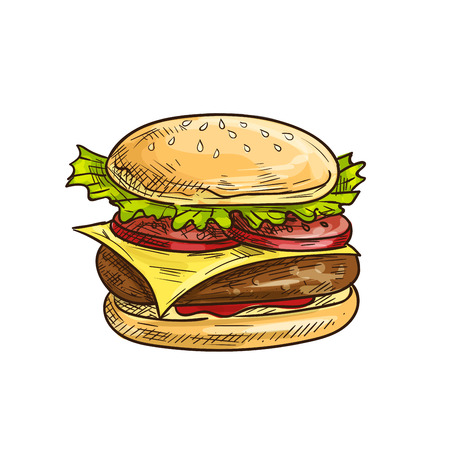 eatery: Cheeseburger fast food sketch icon. Vector hamburger with sesame bun, fresh lettuce, tomatoes slices, meat cutlet, cheese. Burger lement for restaurant signboard, eatery menu, cafe label