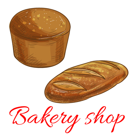 wheat bread: Bread icons for bakery shop. Vector pencil sketch of round rye bread and wheat bread loaf