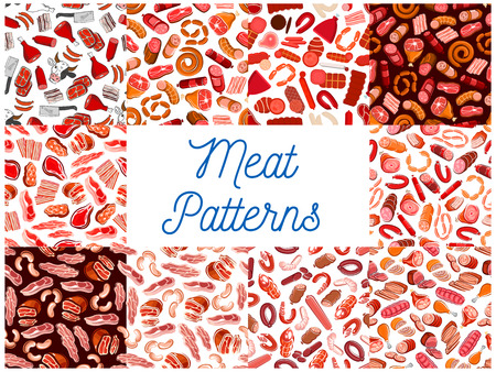 pepperoni: Meat and sausages seamless patterns. Vector pattern of butcher shop products and delicatessen ham, bacon, beefsteak, schnitzel, salami, pepperoni, wurst, meatloaf, jamon, bratwurst cow hatchet Illustration