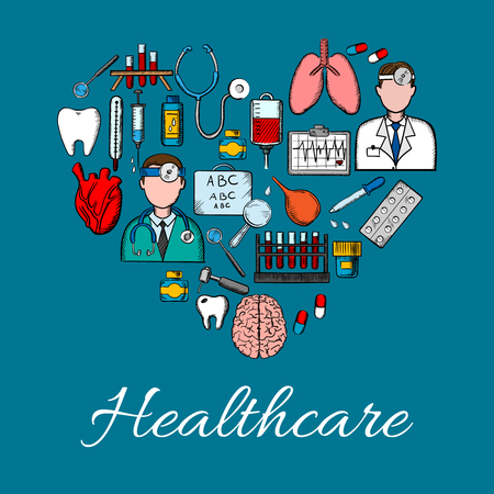 tonometer: Medical placard background in heart shape. Vector symbols and icons of health care equipment and therapy. Doctor, lungs, tooth, heart, brain, dropper, thermometer, syringe, pills stethoscope Illustration