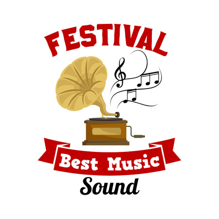classic classical: Gramophone. Best music sound festival emblem with vector icon of old vintage retro phonograph, musical notes and red ribbon