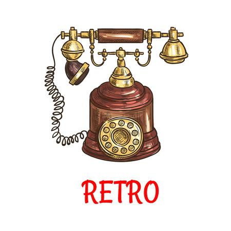 cable telefono: Bosquejo de teléfono de disco de la vendimia con elementos decorativos de madera pulida. tecnología de la comunicación y el diseño retro de electrodomésticos Vectores