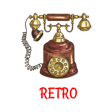 contact icon: Sketch of vintage rotary dial telephone with polished wooden decorative elements. Communication technology and retro home appliance design