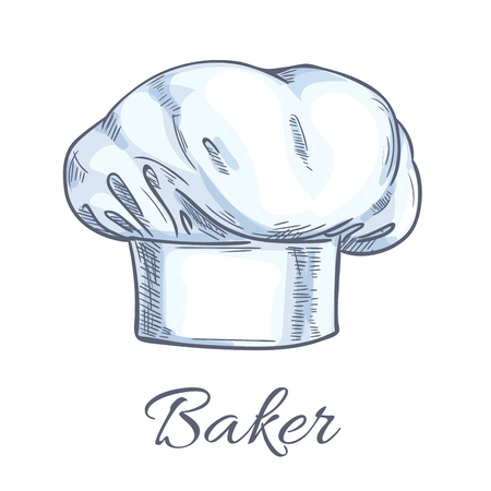 kitchen range: Baker toque or chef hat sketch with white professional uniform headwear of executive chef, sous-chef, cook, range chef and other kitchen staff. Restaurant, cafe, food service themes design