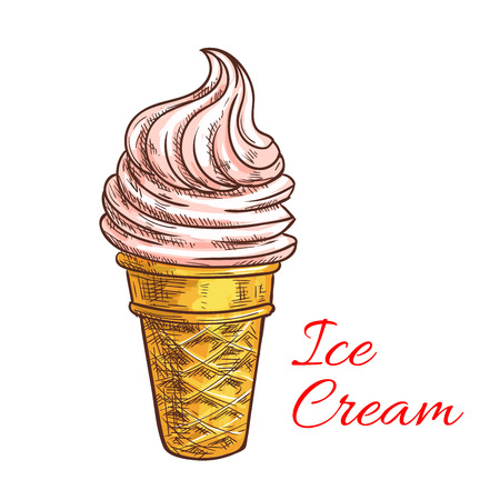 Strawberry ice cream colored sketch with pink swirl of soft serve ice cream in waffle cone. Cafe dessert menu, food packaging design