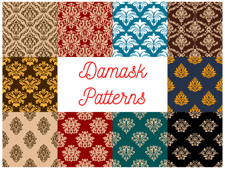 tapestry: Arabic seamless floral patterns set with damask ornaments of decorative flowers and leaves on colorful background. Interior textile, wallpaper or tapestry design Illustration