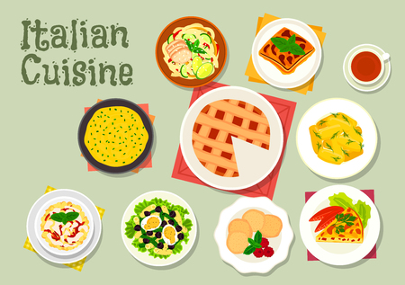 casserole: Italian cuisine pasta dishes icon served with sausage, ham, cream sauce and chicken, tomato egg pie, polenta, potato dumpling, eggplant casserole, almond cookie, tuna salad, cheese cake