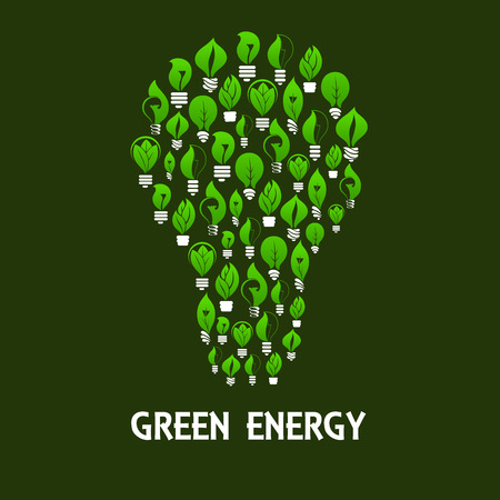 energy symbol: Green energy light bulb symbol made up of eco lamps with green leaves and plants. Saving energy and ecology themes design