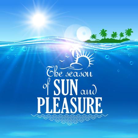 Tropisch de zomersymbool van de strandzomer met blauwe overzees en eiland met groene palmen op de achtergrond. Zomerreizen, vakantie op zonnig strandontwerp