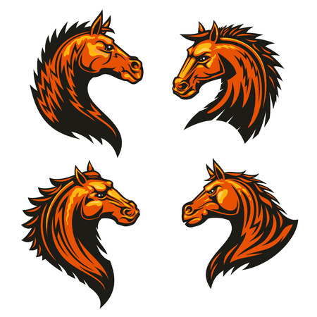spiky: Tribal flaming horse head mascots of angry stallion horse with spiky brown coat and mane. Sporting team or club symbol, t-shirt print design