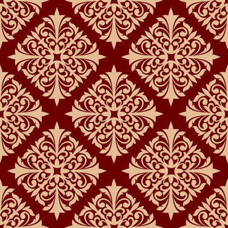 scroll design: Red floral seamless pattern background of beige damask ornament with leaf scroll, flower bud and curlicue. Wallpaper or fabric print design
