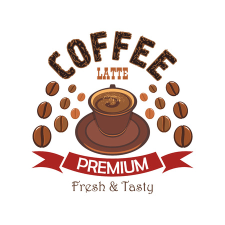 cafe latte: Premium coffee cartoon badge with cup of latte with steamed milk and cacao powder, encircled by coffee beans and red ribbon banner. Cafe and restaurant menu design