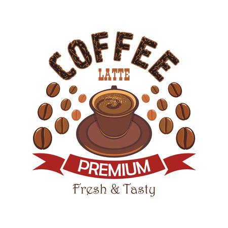 chicchi di caff?: Premium distintivo dei cartoni animati caffè con la tazza di latte con latte e cacao in polvere cotto a vapore, circondata da chicchi di caffè e bandiera nastro rosso. Caffè e menù ristorante di design Vettoriali