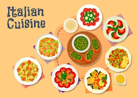 cocina italiana icono de platos de la cena saludable con ensalada César, ensalada de pasta de salmón, pesto de albahaca, ensalada de tomate mozzarella, carpaccio de ternera, pollo ensalada de setas, alcachofas al horno, estofado de berenjenas