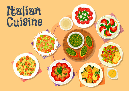 Italian cuisine icon of healthy dinner dishes with caesar salad, salmon pasta salad, basil pesto, tomato mozzarella salad, beef carpaccio, chicken mushroom salad, baked artichoke, eggplant stew