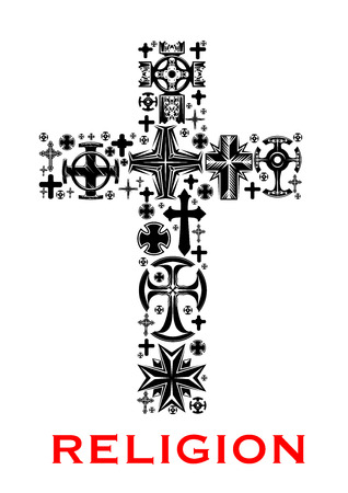 the christian religion: Cross black silhouette, composed of christian, celt, catholic and orthodox religious symbols, crosses and crucifix. Religion, church and faith themes design