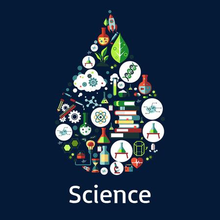 símbolos de la ciencia en una forma de gota con el microscopio, libro, tubo de ensayo de laboratorio, el ADN, átomo, molécula, corazón, cohete, humana y célula de la planta, la bombilla idea, iconos planos del reloj de arena