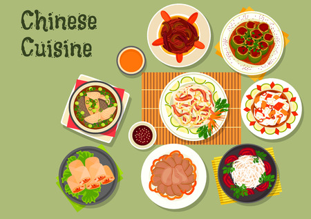 cucumber salad: Chinese cuisine icon with rice noodle salad with beef and radish, shrimp spring rolls, beef tongue, daikon salad, spicy chinese cabbage, fish soup, stuffed cucumber with pork, eggplant stew