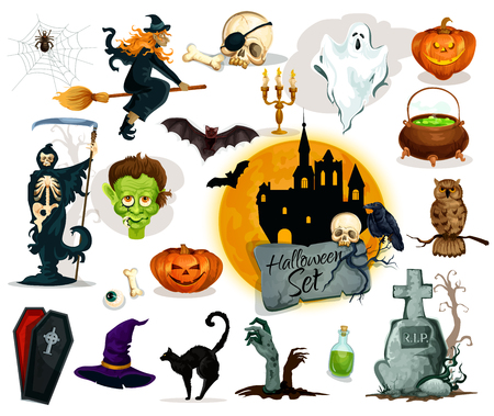 grave stone: Full set of Halloween traditional characters and elements. Pumpkin candle lantern, witch broom and hat, potion cauldron, zombie grave stone, haunted castle ghost, vampire coffin, skeleton skull, black cat, bats, owl, spider