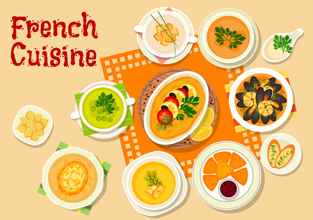 souffle: French cuisine lunch menu icon with onion soup, seafood stew, fried cheese with cranberry jam, lentil soup, cauliflower soup with croutons, pumpkin cream soup, green pea soup, flatfish souffle