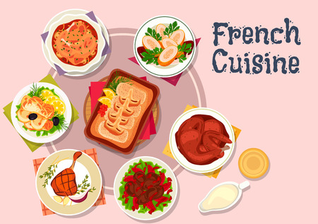 roast chicken: French cuisine meat and fish dishes icon with cod with bechamel sauce, chicken with wine sauce, baked duck legs, rabbit roast, chicken rolls with shrimp, liver with honey and wine sauce, batter perch
