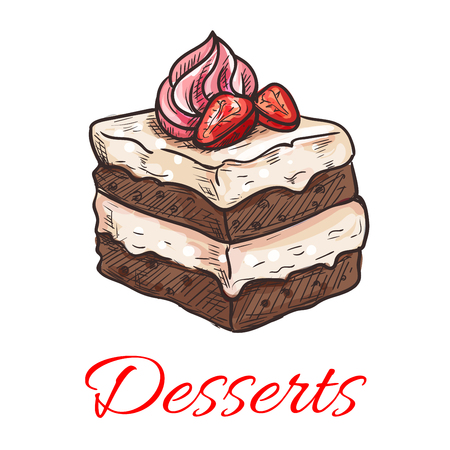 vanilla pudding: Sketched chocolate cake icon of sweet tiered dessert with vanilla cream and fresh strawberry fruit on the top. Pastry shop, cafe, chocolate dessert menu design Illustration