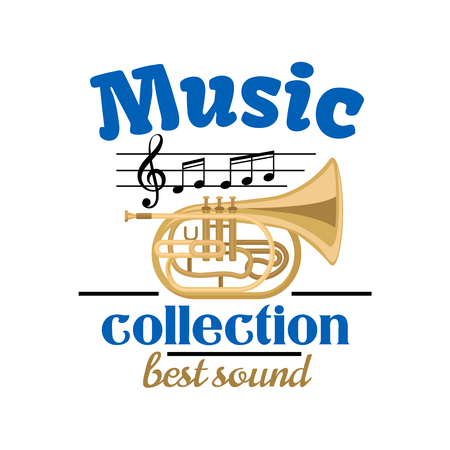 music symbol: Musical instrument symbol of brass tuba, topped with musical notes and treble clef on stave, headers Music collection and Best Sound. Jazz festival or concert design Illustration