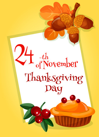 Thanksgiving Day Greeting Card Design Template Vector Decoration Of Thanksgiving Traditional Pie Autumn Leaves