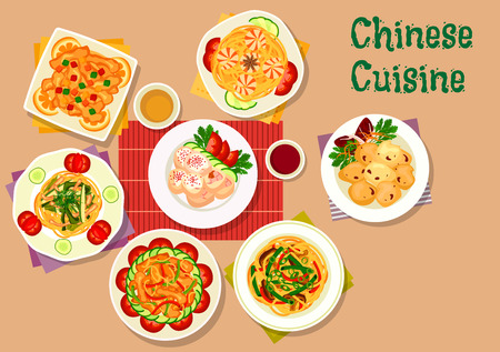 chinese spinach: Chinese cuisine lunch icon with shrimp noodles, pork noodles with spinach, mushroom and bean noodles, chicken roll stuffed ham, sweet pork with candied fruit, spicy pork, batter lamb Illustration