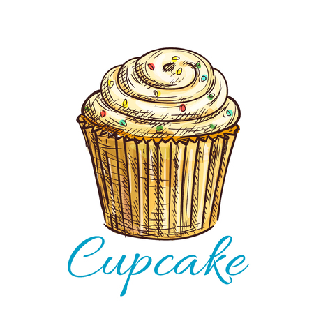 vanilla pudding: Vanilla cupcake isolated sketch with lemon cream icing and sprinkles. Cake shop and pastry symbol, cafe dessert menu design