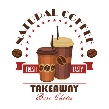 natural arch: Takeaway coffee badge with brown paper cups of natural coffee drink, decorated by ribbon banner, coffee bean and arch of stars. Fast food cafe, coffee shop and food delivery service design